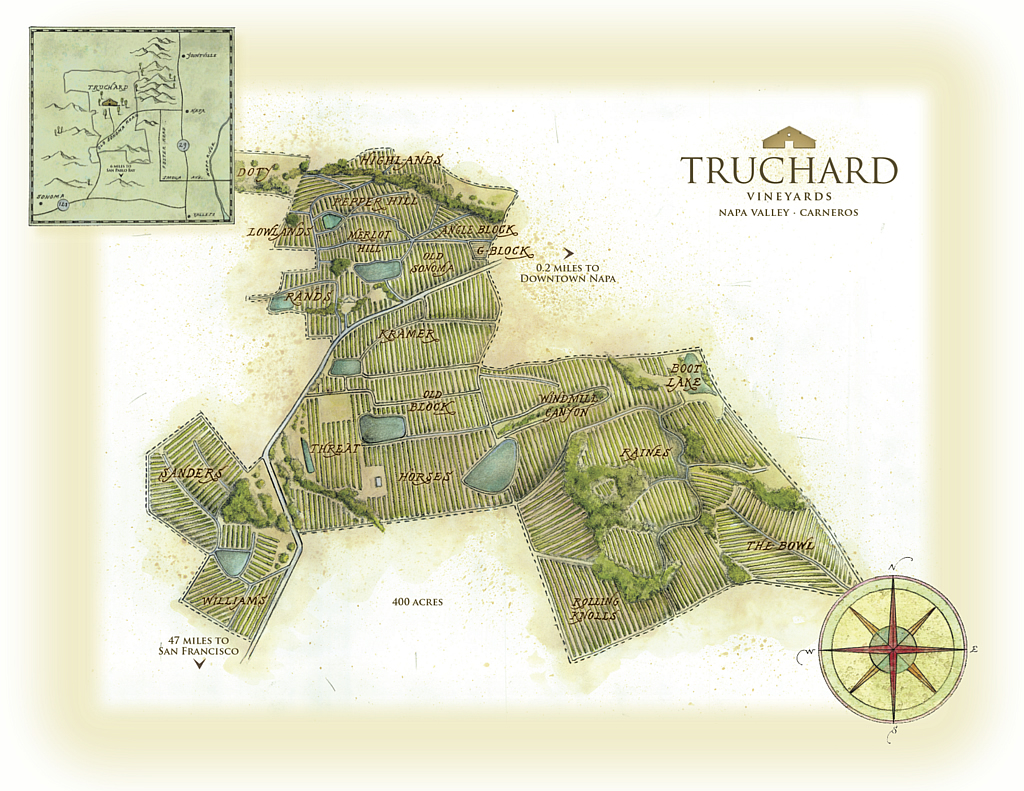 Hand-drawn map of Truchard Vineyards plantings